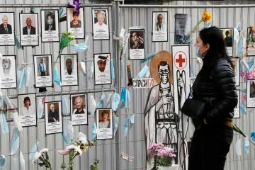 Photo Story: Makeshift memorial to medical workers that died from COVID-19 in St. Petersburg