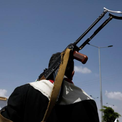 Saudi Arabian-led coalition fighter jets attack Houthi military sites in Yemen