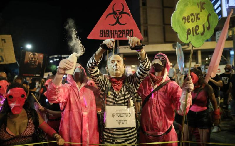 Thousands of Israelis protest against Netanyahu