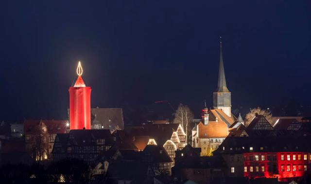 Photo Story: Biggest Christmas candle in the world lights up in Schlitz, Germany
