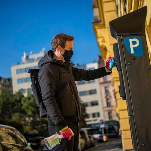 Prague student voluntarily disinfects public places amid coronavirus pandemic