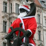 Photo Story: Lone Sailor statue dressed in Santa Claus costume in Szczecin, Poland