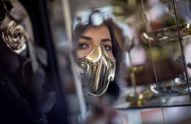 Photo Story: Golden and silver face masks for sale in Istanbul