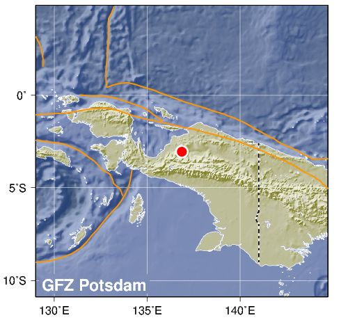 Magnitude 5.7 earthquake hits Irian Jaya, Indonesia