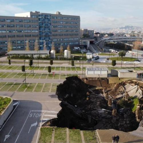 Ground collapse in the Ospedale del Mare car park in Naples