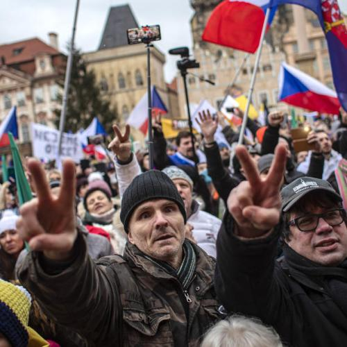 Protest in Prague against pandemic restrictions