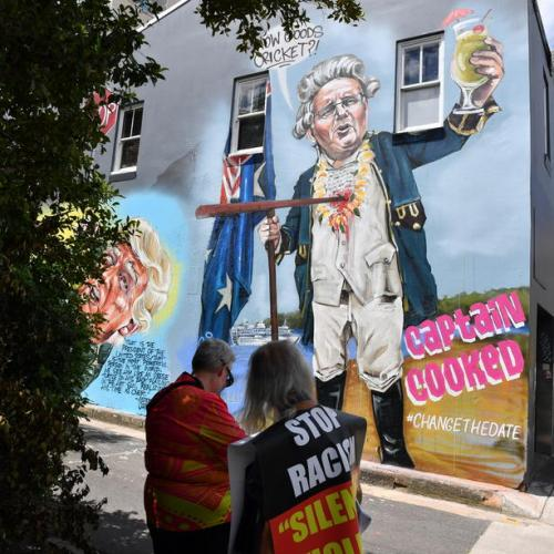 Photo Story: Mural depicting Australian Prime Minister Scott Morrison as Captain Cook, Australia