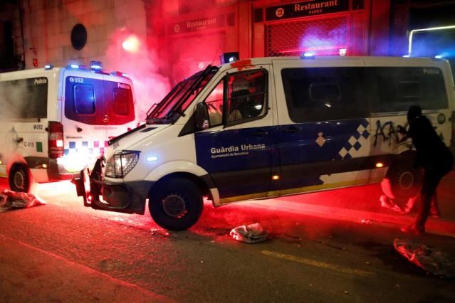 Ten arrested in Barcelona as protests over jailed rapper turn violent