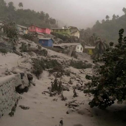 Ash-covered streets after Caribbean volcano erupts