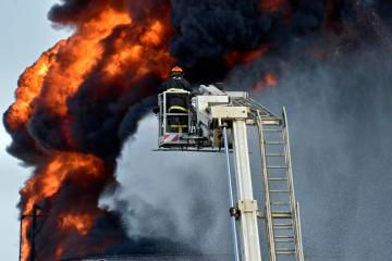 Lebanese firefighters put out fire at fuel facility