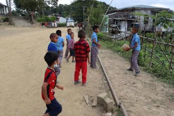 Myanmarr refugee children and Indian children at school