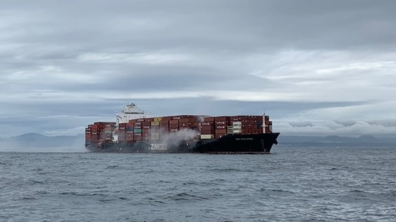 Canadian Coast Guard says monitoring container ship fire