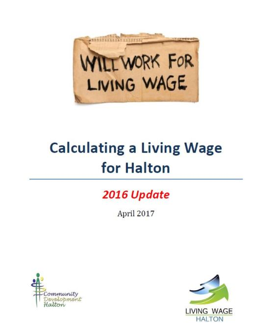 Calculating a Living Wage for Halton – 2016 Update