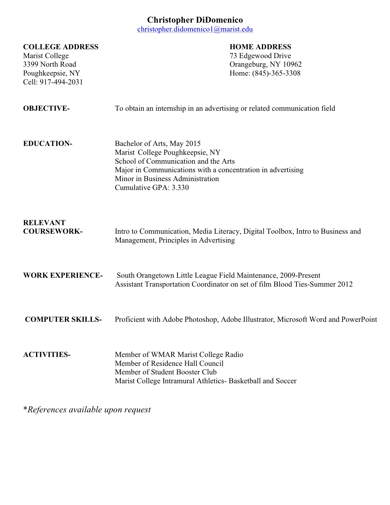 copy of a resume