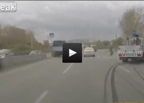 Truck-Brakes-Hard-When-Traffic-Stops-For-Pedestrain