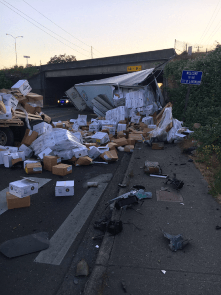 WSP: Trucker fell asleep, then crashed off I-5, falling to roadway below