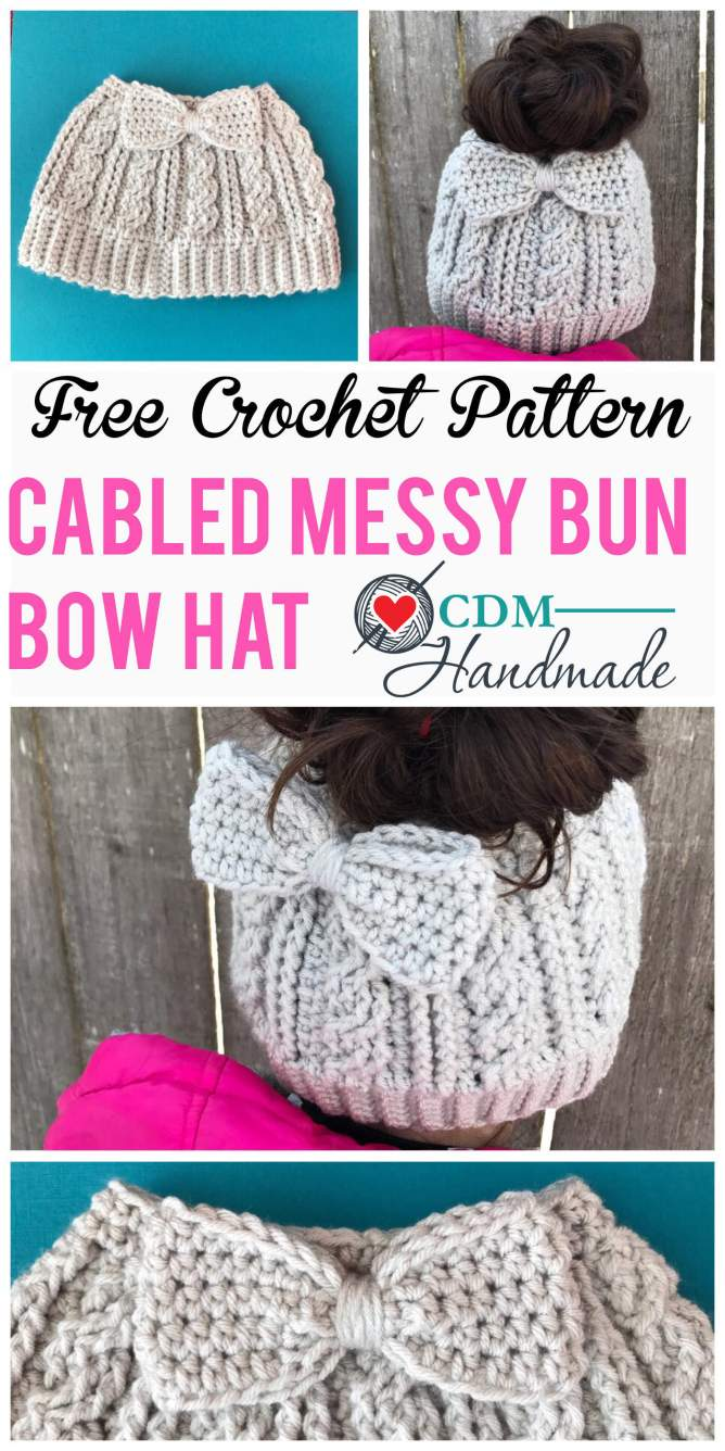 cabled messy bun bow hat pinterest