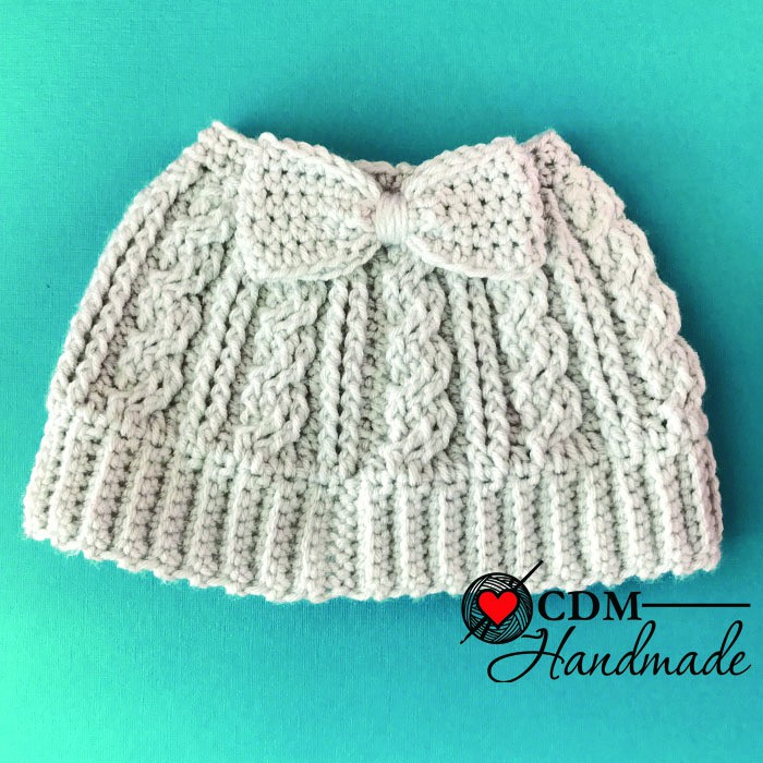 Cabled Messy Bun Bow Hat - a FREE Crochet Pattern – CDM Handmade
