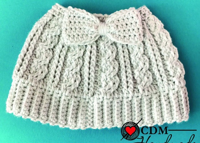 Cabled Messy Bun Bow Hat A Free Crochet Pattern Cdm Handmade