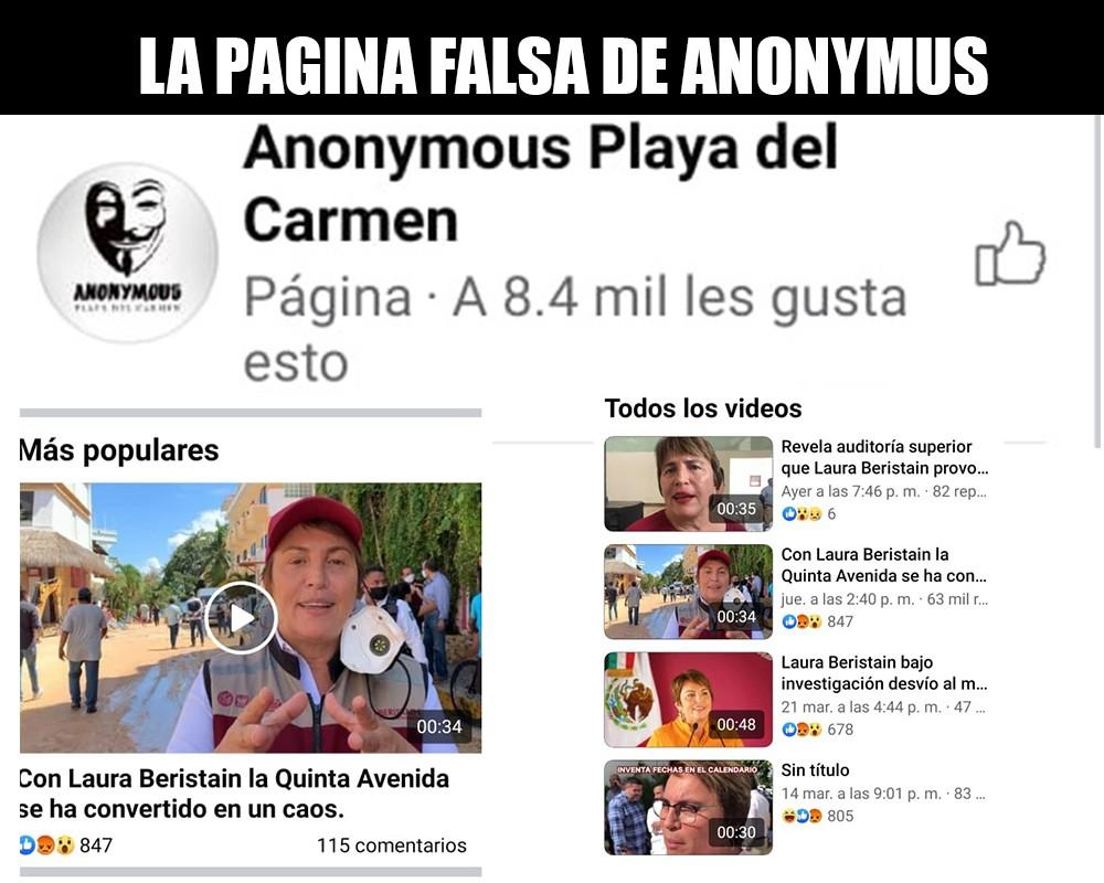 LA PAGINA FALSA DE ANONYMUS EN PLAYA DEL CARMEN FACEBOOK CDMX PRESS