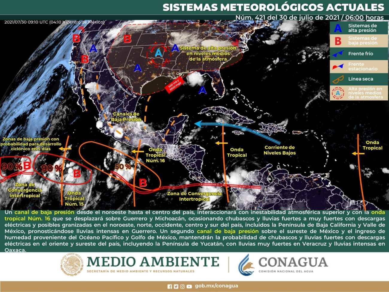 clima en mexico 30 jul 2021