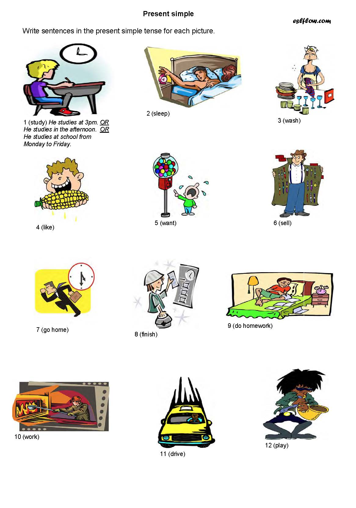 Worksheets For Practicing The Present Simple Tense