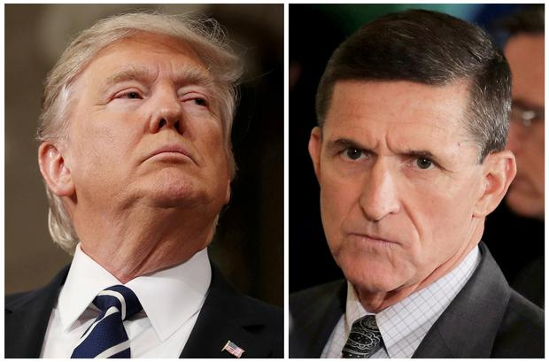 U.S. President Donald Trump (L) and former White House National Security Advisor Michael Flynn REUTERS/Jim Lo Scalzo/Pool, Carlos Barria/File Photo