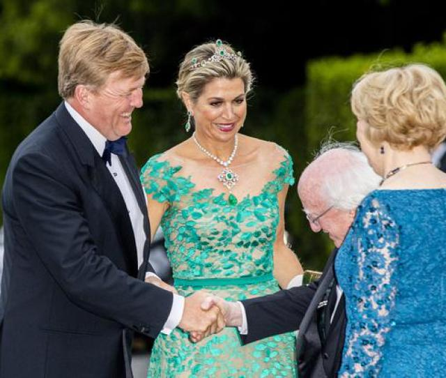 Dons Historic Emerald Tiara For State Dinner At Aras An Uachtarain King Willem Alexander Of The Netherlands And Queen Maxima Of The Netherlands During