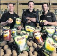 Derek, Tom and Ross Keogh at the launch of Keogh's crisps on Keogh's Farm, Oldtown. BELOW: Brothers,