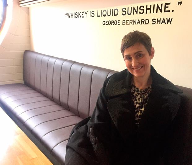 Gemma relaxing, post-tour, in the Teeling Whiskey Distillery