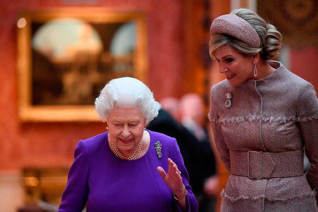 Queen Elizabeth Ii Accompanies Queen Maxima Of The Netherlands To View Dutch Items From The Royal