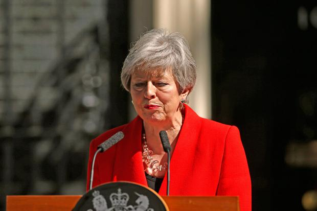 Prime Minister Theresa May makes a statement outside at 10 Downing Street in London, where she announced she is standing down as Tory party leader on Friday June 7. Yui Mok/PA Wire