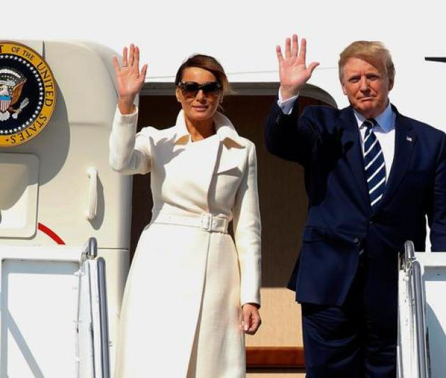 Us President Donald Trump R And First Lady Melania Trump L Wave