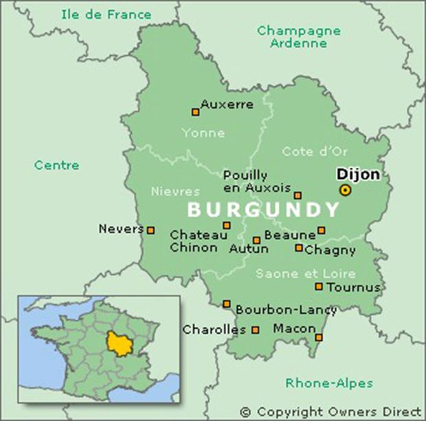 Image result for map of france burgundy wine route
