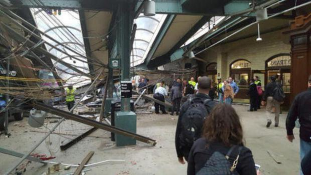 The scene of a train crash in Hoboken (Ian Samuel via AP)
