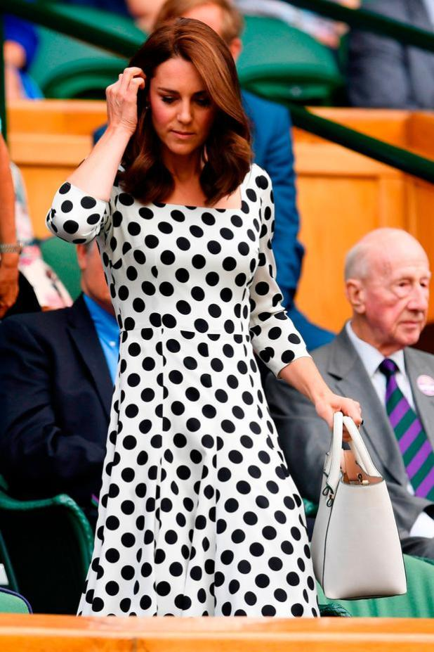 Catherine, Duchess of Cambridge looks on from centre court on day one of the Wimbledon Lawn Tennis Championships at the All England Lawn Tennis and Croquet Club on July 3, 2017 in London, England. (Photo by David Ramos/Getty Images)