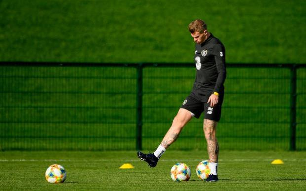 James McClean during a Republic of Ireland training session at the FAI National Training Centre in Abbotstown, Dublin. Photo: Harry Murphy/Sportsfile