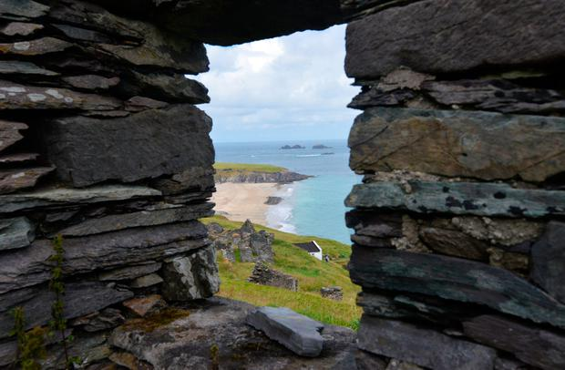 View of Trá Bán from inside a cottage on the Blasket Islands