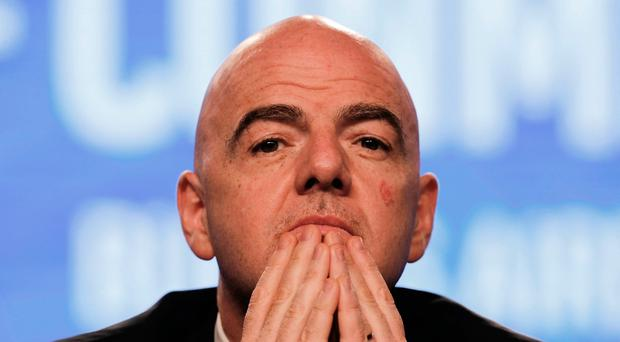 FIFA President Gianni Infantino participates in the annual conference of the South American Football Confederation, CONMEBOL, in Buenos Aires, Argentina