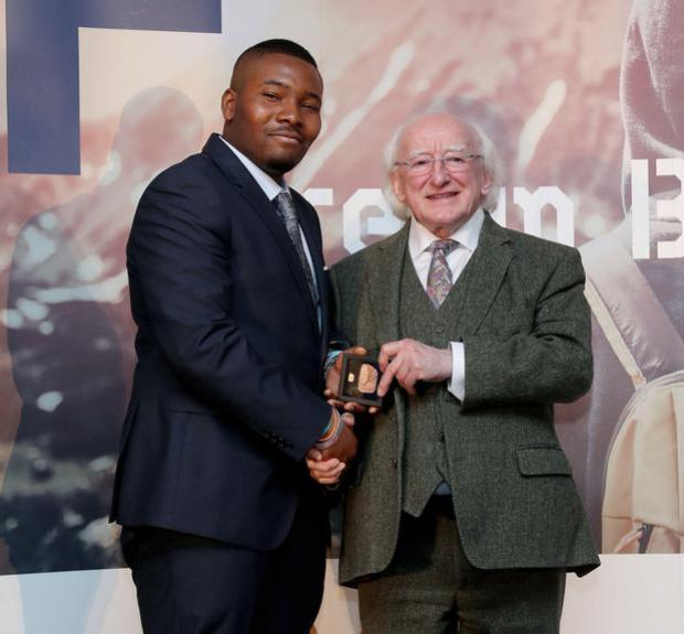 Rilwan Kadiri with President Michael D Higgins