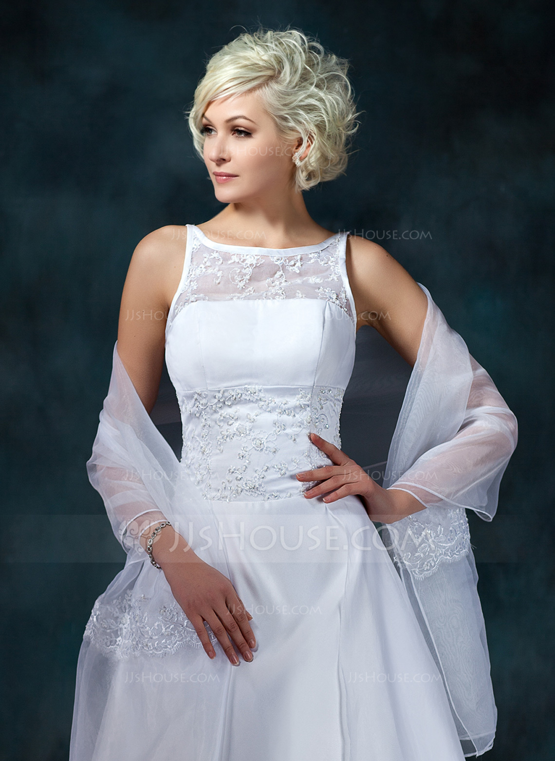 Lace Organza Wedding Shawl 013022598 Wraps JJsHouse