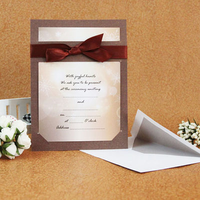 Classic Style Flat Card Invitation Cards With Ribbons Set Of 50