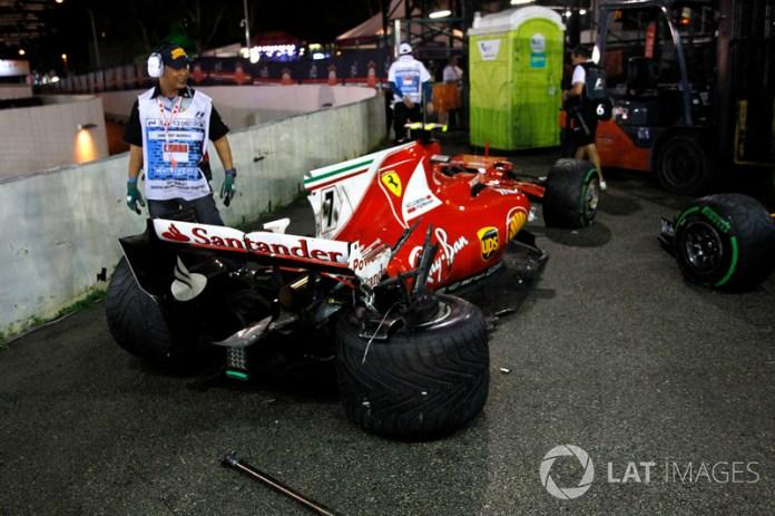 El coche chocado de Kimi Raikkonen, Ferrari SF70H