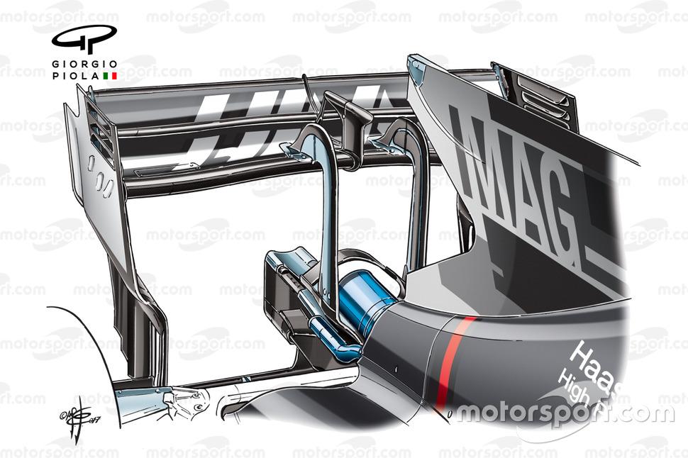 Haas VF-17 rear wing, Italian GP