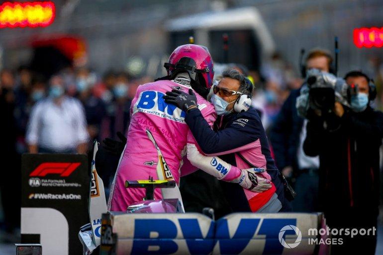 Pole Winner Lance Stroll, Racing Point celebrates