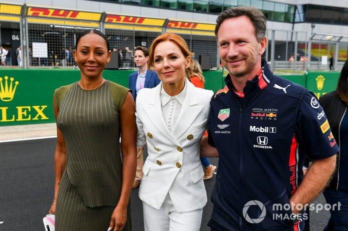 Melanie C, Geri Horner y Christian Horner, Team Principal, Red Bull Racing