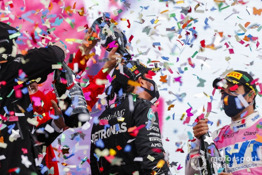 Podium: winner and world champion Lewis Hamilton, Mercedes-AMG F1, second place Sergio Pérez, Racing Point, and third place Sebastián Vettel, Ferrari