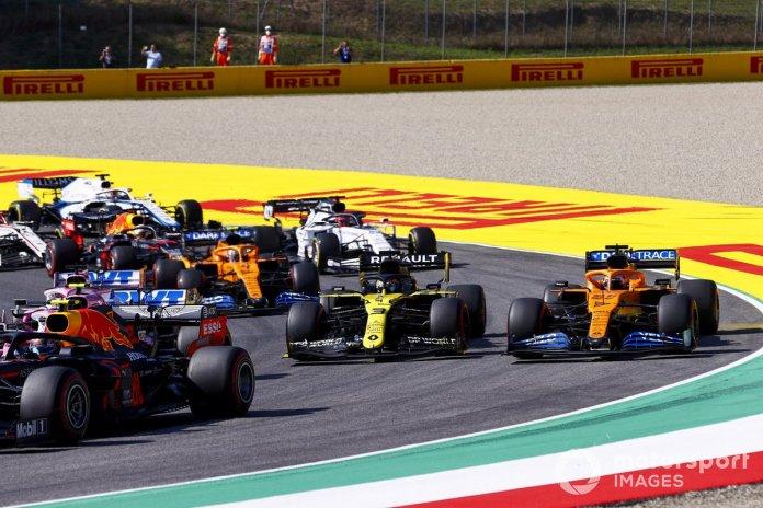 Alex Albon, Red Bull Racing RB16, Lance Stroll, Racing Point RP20, Daniel Ricciardo, Renault F1 Team R.S.20, Carlos Sainz Jr., McLaren MCL35, Lando Norris, McLaren MCL35