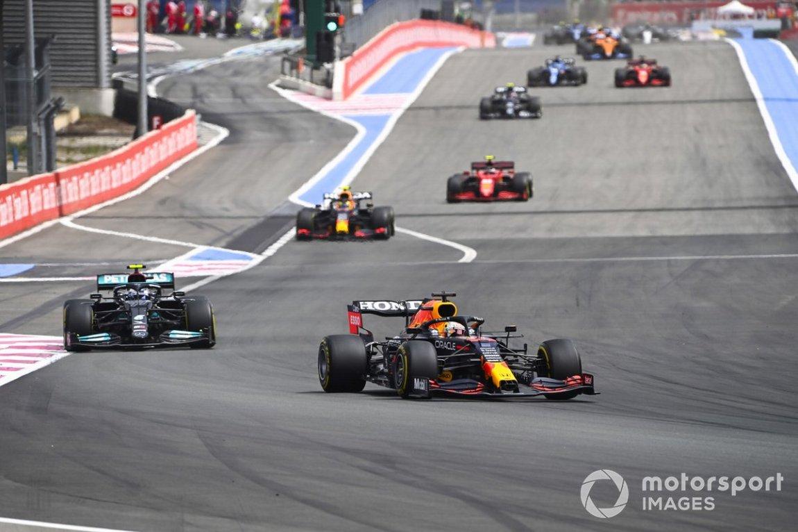 Max Verstappen, Red Bull Racing RB16B, Valtteri Bottas, Mercedes W12, and Sergio Perez, Red Bull Racing RB16B