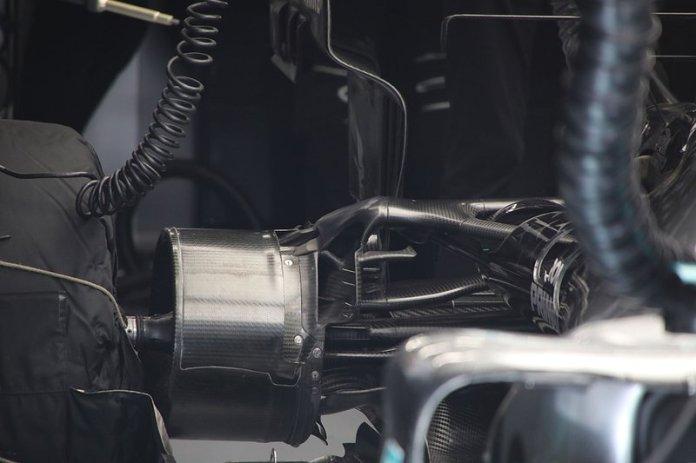Detalle del freno trasero del Mercedes F1 W11